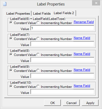 Tab 2 of the Label Fields