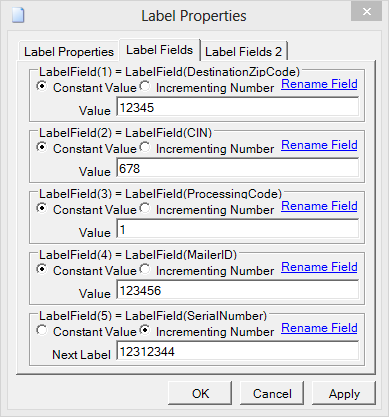Label Properties Field