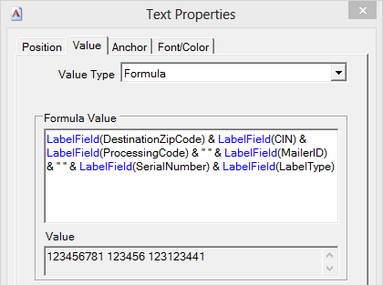 Label Text Properties