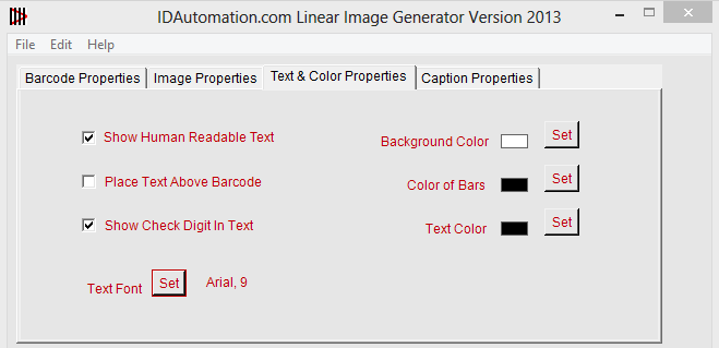 SISAC Text & Color Properties Tab
