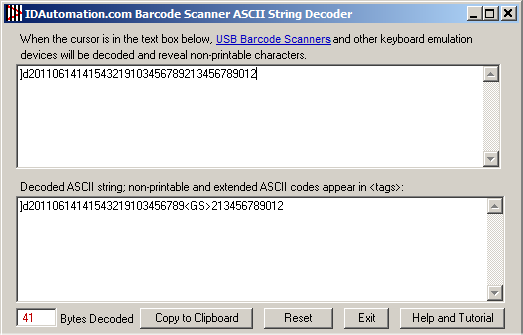 Decoding GS1 DataMatrix with the ASCII String Decoder