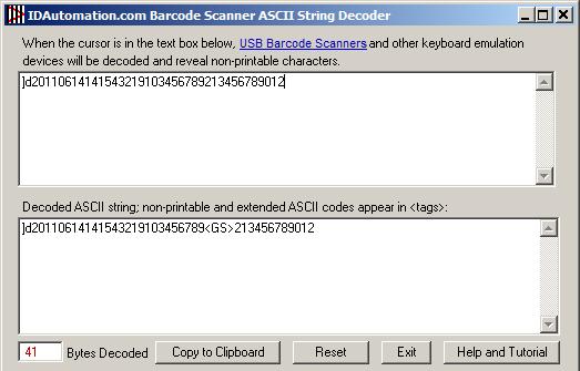 Decoding GS1 DataMatrix with the ASCII String Decoder