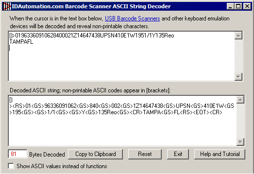 ASCII Decoder screenshot
