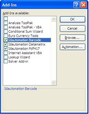 How to create a Barcode add-in for Excel | BarcodeFAQ com