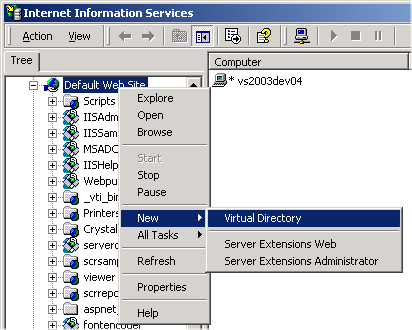iis new virtual directory