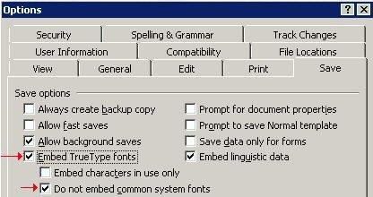 embed truetype fonts