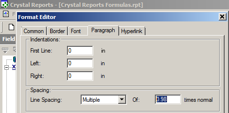 Adjusting the line spacing in Crystal Reports for 2D and Stacked barcodes