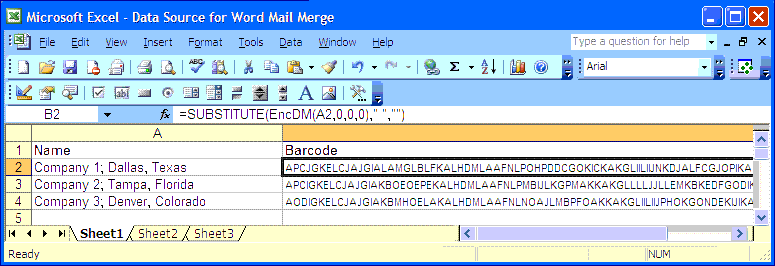 DataMatrix Excel Font Example Substitute Function