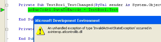 InvalidActiveXStateException Error