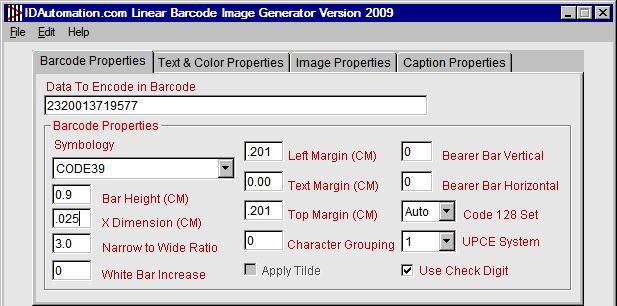 LOGMARS Barcode Properties Tab